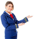 Welcoming flight attendant — Stock Photo