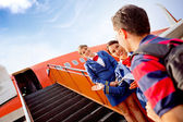 Passenger going into the airplane — Stock Photo