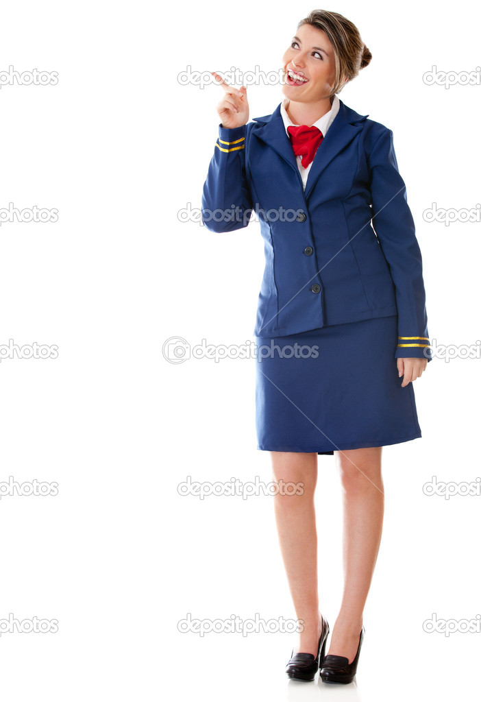 Flight attendant pointing with her finger - isolated over a white background — Stock Photo #9356265