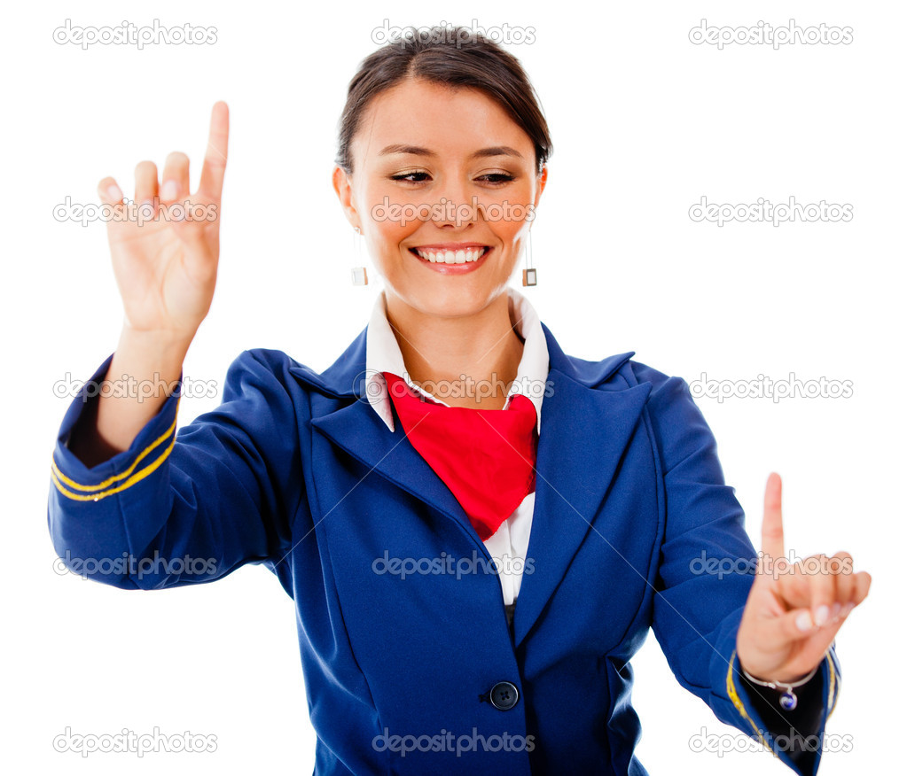 Flight attendant pointing two destinations - isolated over a white background — Stock Photo #9356305