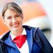 Beautiful air stewardess — Stok fotoğraf