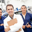 Stock Photo: Mechanics at a garage
