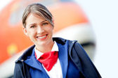 Beautiful air stewardess — Stock Photo