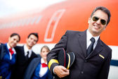 Pilot with his crew — Stock Photo