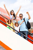 Happy family going on holidays — Stock Photo
