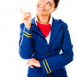 Stock Photo: Toughtful flight attendant