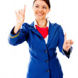 Air hostess pointing destinations — Stock Photo #9391080