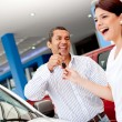 Man buying a car for his wife — Foto Stock
