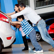 Family with car problems — Stock Photo