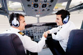 Pilots handshaking — Stock Photo