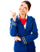Toughtful flight attendant — Stock Photo