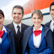 Stock Photo: Airplane cabin crew