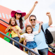 Family traveling by airplane — Stock Photo #9401989