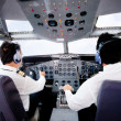 Pilots flying an airplane - Stock Photo