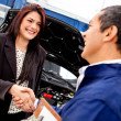 Woman at the mechanic - Stock Photo