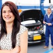 Woman at the mechanic — Stock Photo #9469316