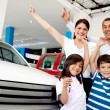 Happy family with new car - Stock Photo