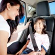 Foto Stock: Fastening seat belt in a car
