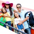 Family traveling by airplane - Foto Stock