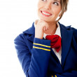 Pensive flight attendant — Stock Photo