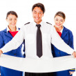 Stock Photo: Air crew holding model
