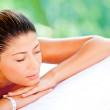 Relaxed woman at a spa — Stock Photo
