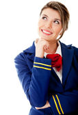Pensive flight attendant — Foto de Stock