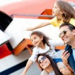 Family traveling by airplane — Stock Photo