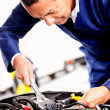 Mechanic fixing car engine — Stock Photo #9525507