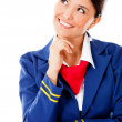 Stock Photo: Pensive flight attendant