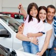 Family with keys of new car - Stock Photo