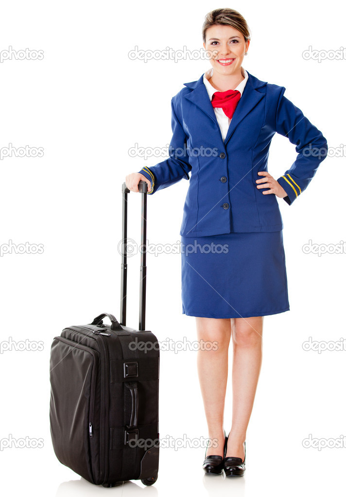 Air hostess with her bag ready to board - isolated over a white background — Stock Photo #9525502