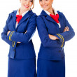Flight attendants smiling — Stock Photo
