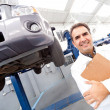 Happy mechanic smiling — Stock Photo