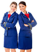 Flight attendants smiling — Photo