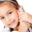 Girl with color pencils — Stock Photo #9632731