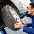 Mechanic reparing a car — Stock Photo
