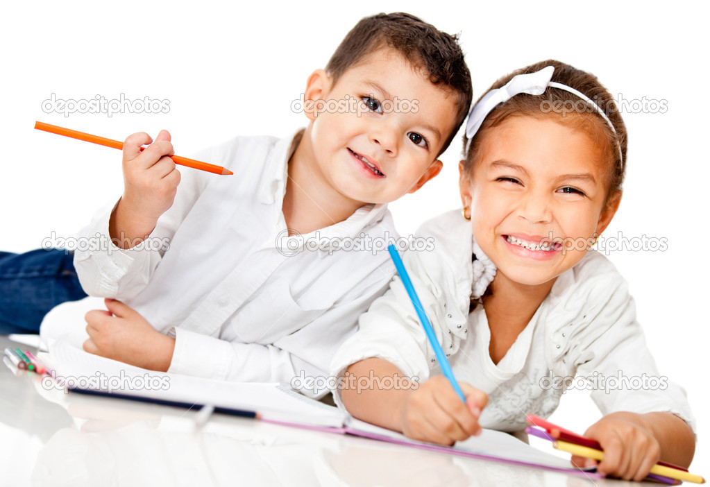 Happy kids smiling and coloring a book - isolated over white — Stock Photo #9632733