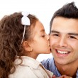 Stock Photo: Girl kissing her father
