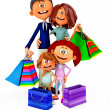 Stock Photo: 3D shopping family