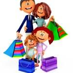 3D shopping family — Stock Photo