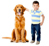 Boy with a dog — Stockfoto