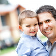 Father and son smiling — Stock Photo #9664863