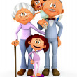 3D kids with grandparents - Stock Photo