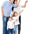 Family pointing with finger — Stock Photo
