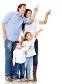 Familjen pekar med finger — Stockfoto