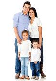 Geïsoleerd en gelukkige familie — Stockfoto