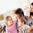 Stock Photo: happy family at home