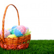 Easter eggs in a basket - Stock Photo
