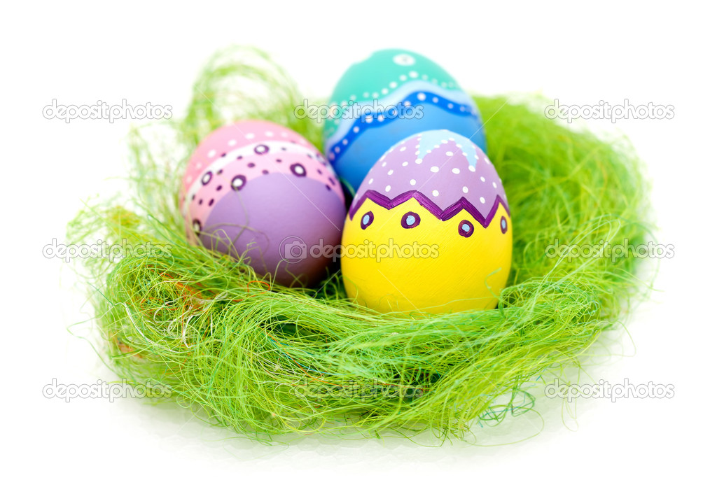 Easter eggs in a nest - isolated over a white background  Stock Photo #9790346